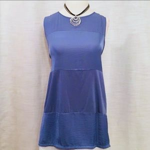 VINCE CAMUTO Tunic blouse two-tone blue sleeveless